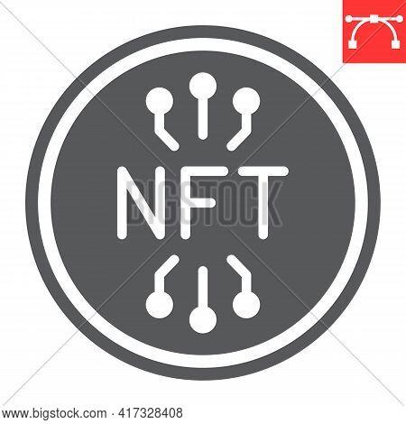 Nft Coin Glyph Icon, Unique Token And Blockchain, Non Fungible Token Vector Icon, Vector Graphics, E