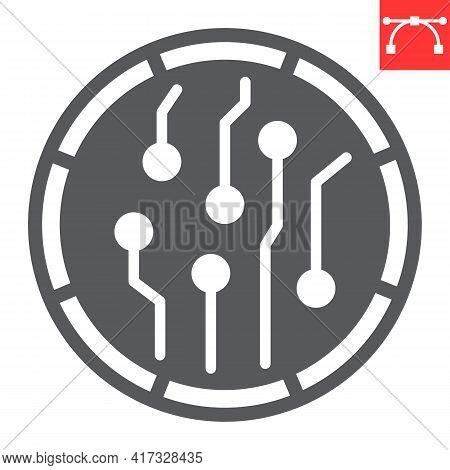 Crypto Coin Glyph Icon, Unique Token And Blockchain, Non Fungible Token Vector Icon, Vector Graphics