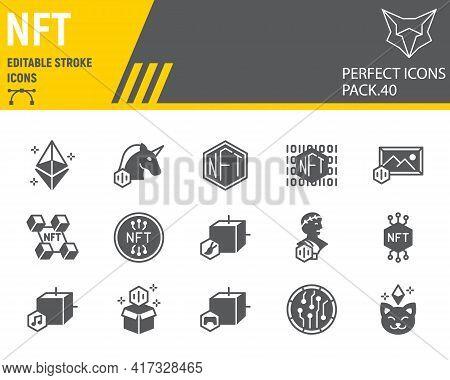 Nft Glyph Icon Set, Non Fungible Token Collection, Vector Graphics, Logo Illustrations, Nft Blockcha