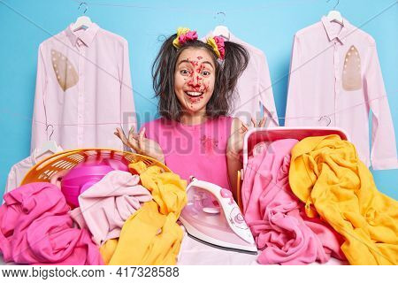 Funny Comic Asian Teenage Girl Has Face Smeared With Sweet Jam Holds Pie Poses Near Ironing Board Su