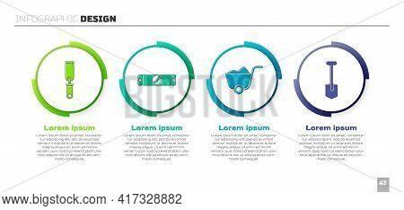 Set Rasp Metal File, Construction Bubble Level, Shovel And Shovel. Business Infographic Template. Ve