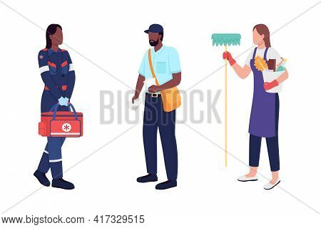Key Workers Flat Color Vector Faceless Character Set