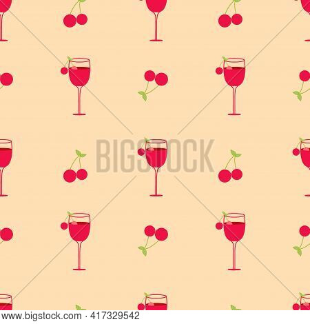 Illustration Depicting A Cocktail With Cherries And A Green Leaf On A Brown Background. Seamless Vec