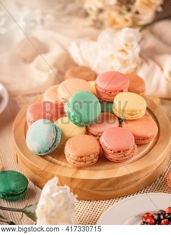 French Macarons With Different Flavorful Fillings, Still Life Composition