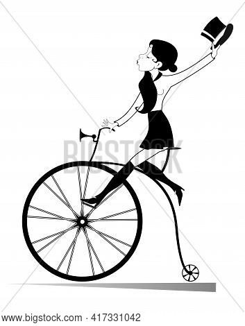 Young Woman With A Top Hat Rides Retro Bike Illustration. Attractive Young Woman Holds A Top Hat In