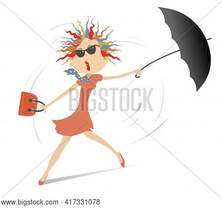 Windy Day And Young Woman With Umbrella Illustration. Young Woman In Sunglasses With An Umbrella Sta