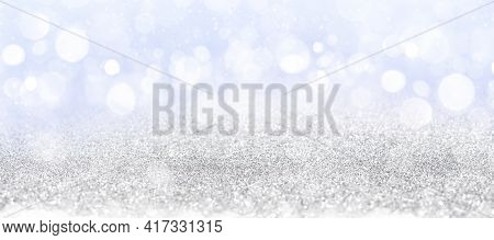 Abstract White Bokeh On Blue Background, Background Design In Sky Blue Color, Sparkles And Shimmery