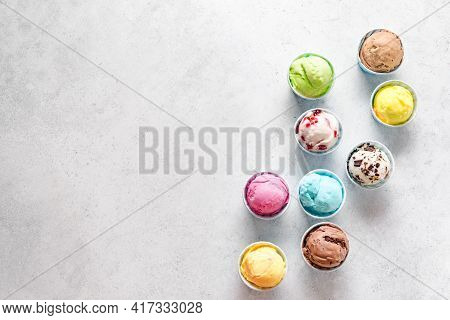 Ice Cream Assortment. Various Ice Creams Or Gelato On White Background, Copy Space. Frozen Yogurt  I
