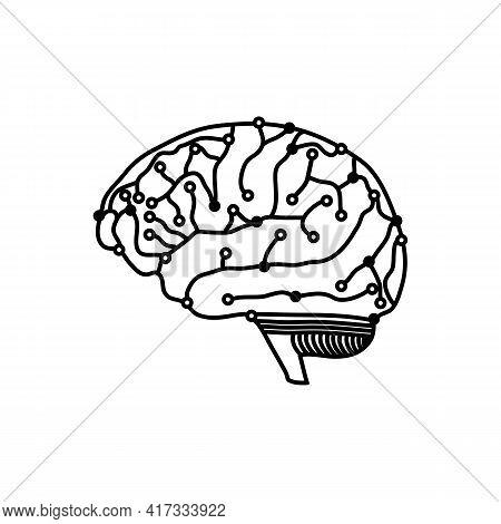 Illustration Vector Design Graphic Of Tech Brain Logo