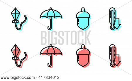 Set Line Acorn, Kite, Umbrella And Meteorology Thermometer Icon. Vector