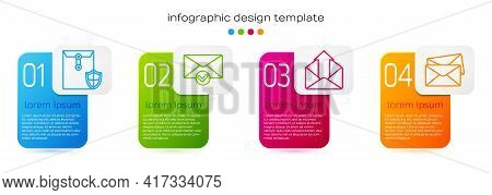 Set Line Envelope With Shield, Envelope And Check Mark, Outgoing Mail And Envelope. Business Infogra