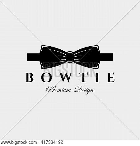 Vintage Bow Tie Logo Vector Illustration Design. Minimalist Tie Icon