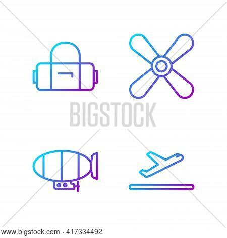 Set Line Plane Takeoff, Airship, Suitcase And Plane Propeller. Gradient Color Icons. Vector