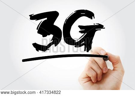 3g - Third Generation Cellular Data Text With Marker, Technology Concept Background