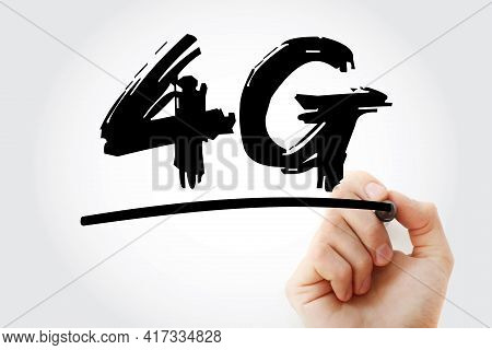 4g - Fourth Generation Cellular Data Text With Marker, Technology Concept Background