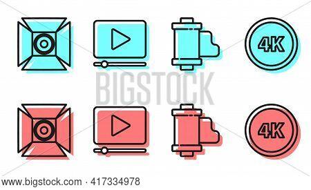 Set Line Camera Vintage Film Roll Cartridge, Movie Spotlight, Online Play Video And 4k Ultra Hd Icon
