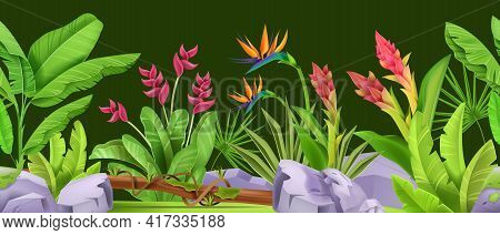 Jungle Seamless Vector Border, Green Tropical Forest Nature Frame, Exotic Flowers, Leaves, Plants, S