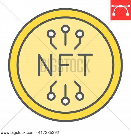 Nft Coin Color Line Icon, Unique Token And Blockchain, Non Fungible Token Vector Icon, Vector Graphi