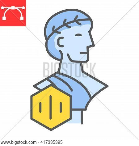 Greek Statue With Nft Color Line Icon, Unique Token And Nft, Non Fungible Token Vector Icon, Vector