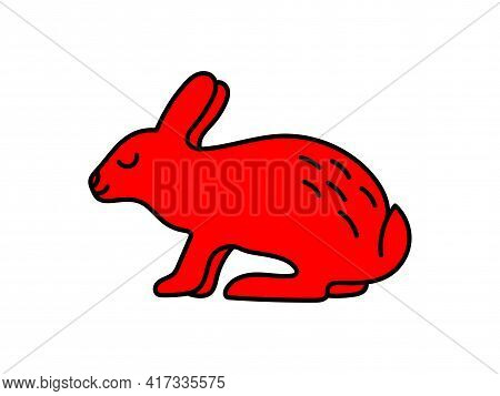 Rabbit. Chinese Horoscope 2023 Year. Animal Symbol Vector Set. Red Doodle Sketch. Editable Path. Car