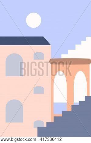 Minimalist Landscape Of The Old City. Summer Boho Architecture Design For Souvenir Shops, Travel Age