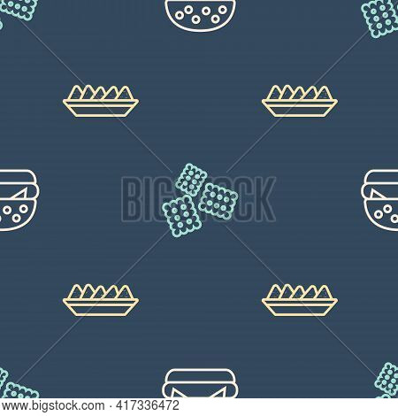 Set Line Burger, Nachos In Plate And Cracker Biscuit On Seamless Pattern. Vector