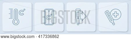 Set Line Meteorology Thermometer, Digital, Celsius And Medical. White Square Button. Vector