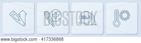 Set Line Digital Thermometer, Medical, And Meteorology. White Square Button. Vector