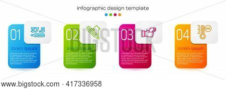 Set Line Medical Thermometer, , Checking Body Temperature And Meteorology. Business Infographic Temp