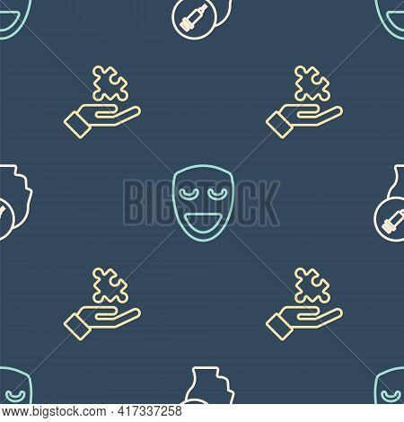 Set Line Addiction To The Drug, Solution Problem And Comedy Theatrical Mask On Seamless Pattern. Vec