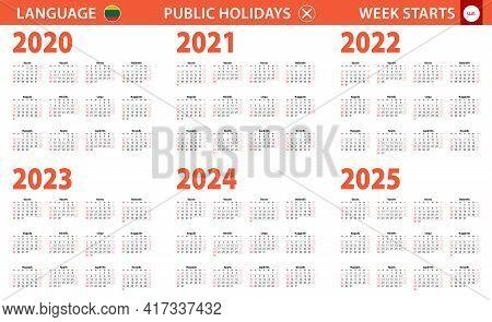 2020-2025 Year Calendar In Lithuanian Language, Week Starts From Sunday. Vector Calendar.