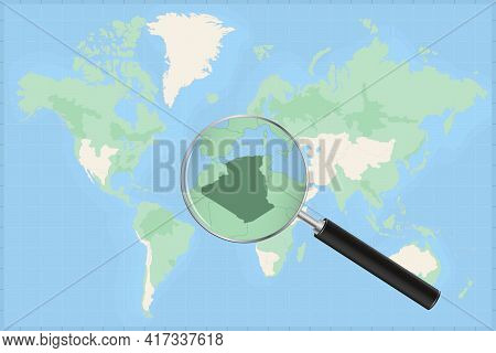 Map Of The World With A Magnifying Glass On A Map Of Algeria Detailed Map Of Algeria And Neighboring