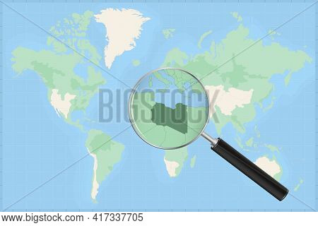 Map Of The World With A Magnifying Glass On A Map Of Libya Detailed Map Of Libya And Neighboring Cou