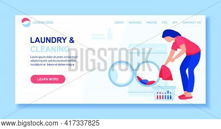 Vector Illustration Laundry Cleaning Service Woman Washing Dirty Clothes Washing Machine, Laundry Ba