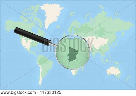 Map Of The World With A Magnifying Glass On A Map Of Chad Detailed Map Of Chad And Neighboring Count