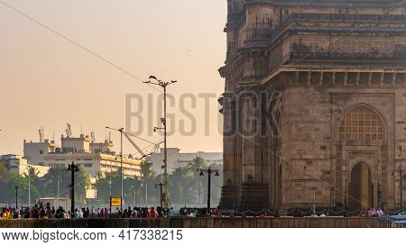 Mumbai Signboard At The Gateway Of India, Arch-monument Built In The Early Twentieth Century In The