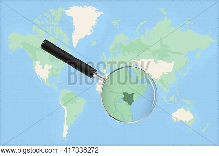 Map Of The World With A Magnifying Glass On A Map Of Kenya Detailed Map Of Kenya And Neighboring Cou