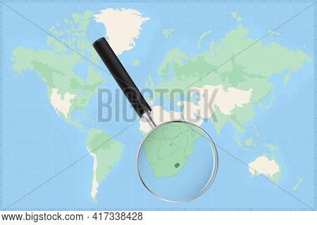 Map Of The World With A Magnifying Glass On A Map Of Lesotho Detailed Map Of Lesotho And Neighboring