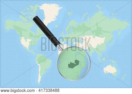 Map Of The World With A Magnifying Glass On A Map Of Zambia Detailed Map Of Zambia And Neighboring C