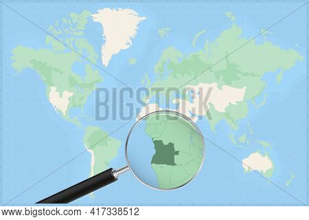 Map Of The World With A Magnifying Glass On A Map Of Angola Detailed Map Of Angola And Neighboring C