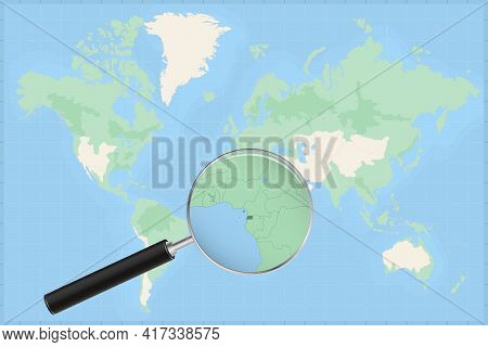 Map Of The World With A Magnifying Glass On A Map Of Equatorial Guinea Detailed Map Of Equatorial Gu