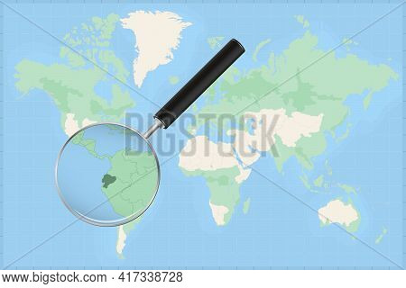Map Of The World With A Magnifying Glass On A Map Of Ecuador Detailed Map Of Ecuador And Neighboring