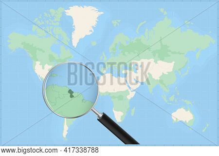 Map Of The World With A Magnifying Glass On A Map Of Guyana Detailed Map Of Guyana And Neighboring C