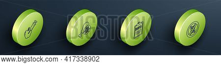 Set Isometric Line Genetically Modified Apple, Gmo Research Chicken, Document For Bio Healthy Food A