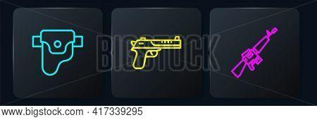 Set Line Gun In Holster, M16a1 Rifle And Desert Eagle Gun. Black Square Button. Vector
