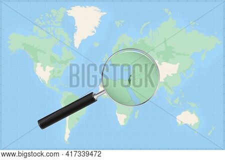 Map Of The World With A Magnifying Glass On A Map Of Israel Detailed Map Of Israel And Neighboring C