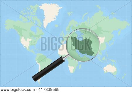 Map Of The World With A Magnifying Glass On A Map Of Iran Detailed Map Of Iran And Neighboring Count