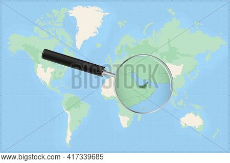 Map Of The World With A Magnifying Glass On A Map Of United Arab Emirates Detailed Map Of United Ara