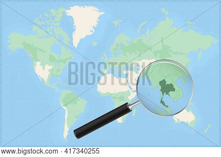 Map Of The World With A Magnifying Glass On A Map Of Thailand Detailed Map Of Thailand And Neighbori