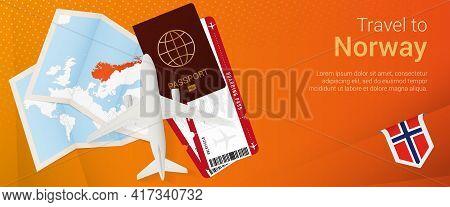 Travel To Norway Pop-under Banner. Trip Banner With Passport, Tickets, Airplane, Boarding Pass, Map